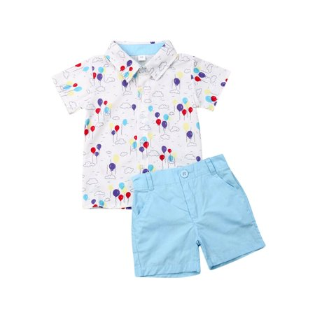 Summer Boy Clothes 2pcs Toddler Kids Baby Boy Gentleman Clothes Floral Shirt Tops Shorts Pants Outfit