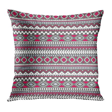 ECCOT Colorful in The Bohemian Tribal and Ethnic Motives Geometrical for Your Gray White and Pink Colors Aztec Pillowcase Pillow Cover Cushion Case 16x16 inch ()