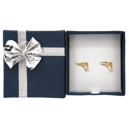 14K Yellow Gold Handgun Pistol Gun Stud Earrings with Bow Tie Jewelry Gift (Swing Arm Dual Stud)