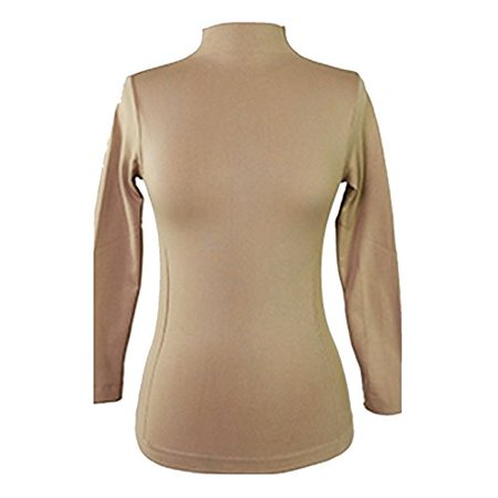 f5de7728a021d5 Women's Long Sleeve One Size Mock Turtleneck Top (Khaki)