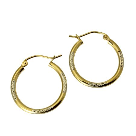 14K Real 2 Tone Yellow White Gold 1.5mm Thickness Diamond Cut Tube Hoop (Two Tone Gold Tube)