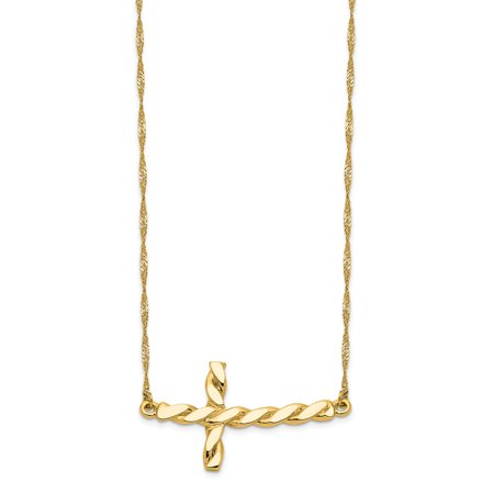 14k Yellow Gold Polished Twisted Sideways Cross 17 inch Necklace