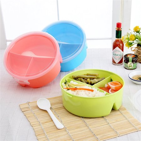 3 Round Box (Portable Round Kids Lunch Boxes with 3 Partition Grids Picnic Bento Food Container Storage with Spoon Random Color)