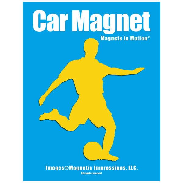 Soccer Player Male Car Magnet Chrome