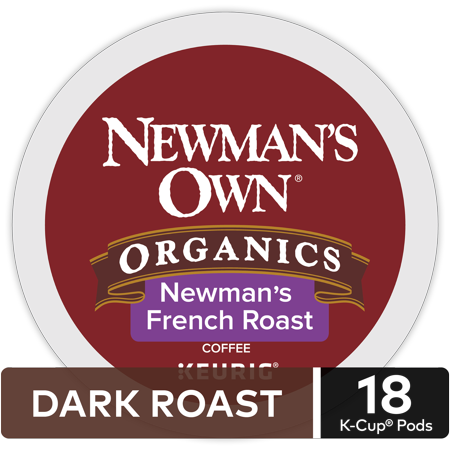 Newman's Own Organics Dark French Roast Coffee, Keurig K-Cup Pod, 18Ct