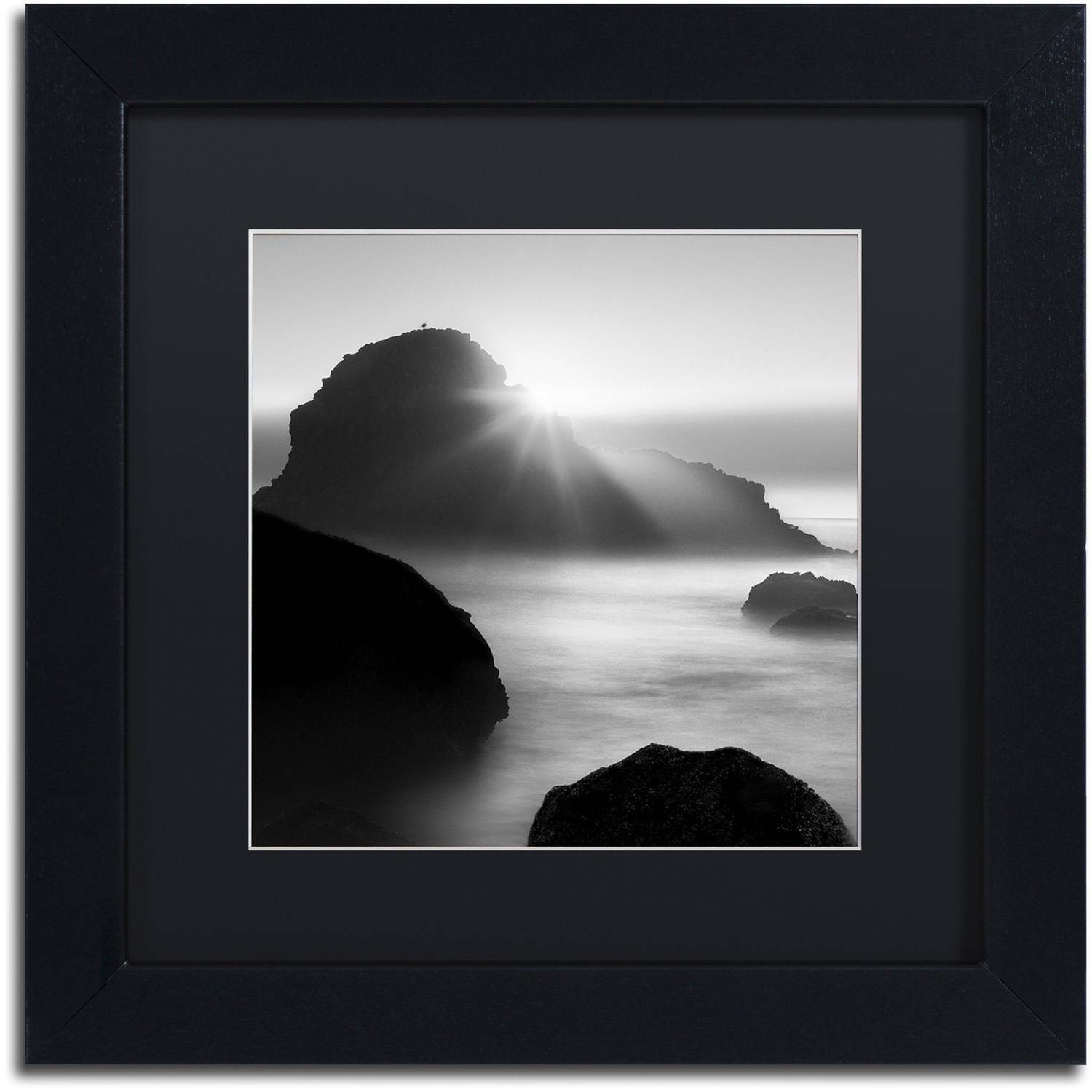 "Trademark Fine Art ""Long Sunset at Indian Beach"" Canvas Art by Moises Levy Black Matte, Black Frame"