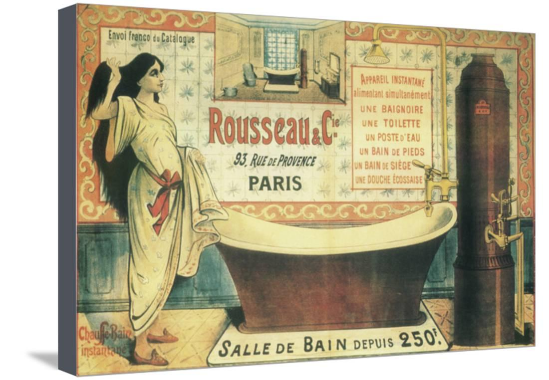 Salle De Bain 2 Stretched Canvas Print Wall Art By Vintage Apple