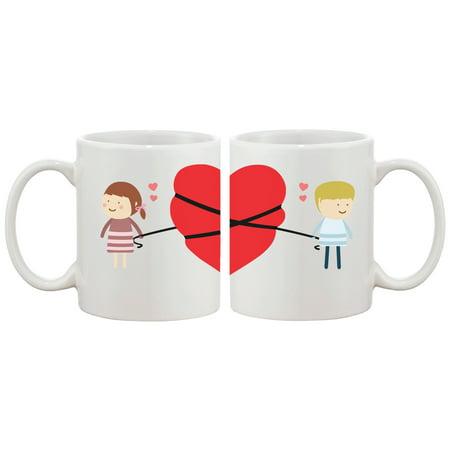 Love Connecting Couple Mugs Cute Graphic Design Ceramic