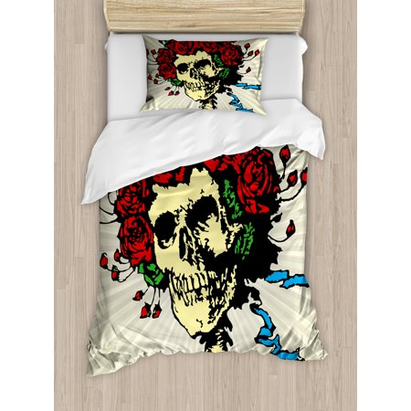 Rose Twin Size Duvet Cover Set, Tattoo Art Style Graphic Skull in Red Flowers Crown Halloween Composition Print, Decorative 2 Piece Bedding Set with 1 Pillow Sham, Beige Multicolor, by Ambesonne