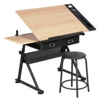 Yaheetech Adjustable Height Drawing Table Drafting Desk with P2 Tiltable Tabletop, Stool and 2 Drawers
