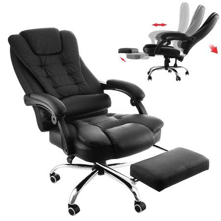 BestEquip Executive Office Chair with Footrest PU Leather High-Back Reclining Office Chair Adjustable Reclining Computer Chair Napping Armchair Managerial Swivel Office Chair with Foot Stool ()