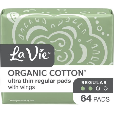 La Vie Organic Cotton Top Sheet* Pads with Wings, Ultra Thin, Regular, 64