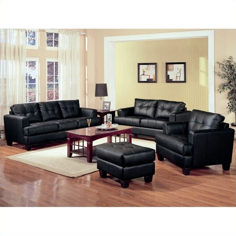Coaster Furniture Samuel 3 Piece Leather Sofa Set in Black