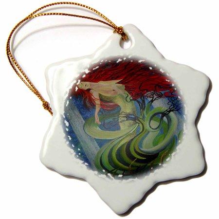 3dRose Sea Goddess - blue, fantasy, mermaid, mythological, ocean nymph, redhead, sea nymph, Snowflake Ornament, Porcelain, -