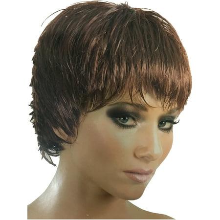 Punk Rocker The Rockette Women's Brown Wig Costume Accessory