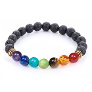 7 Chakra Healing Diffuser Reiki Bracelet with Real Stones & Lava Beads