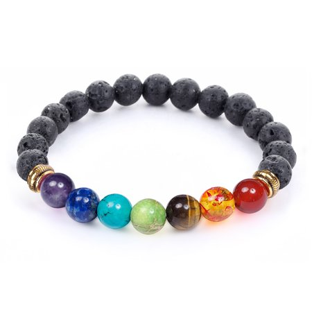 7 Chakra Healing Diffuser Reiki Bracelet with Real Stones & Lava -