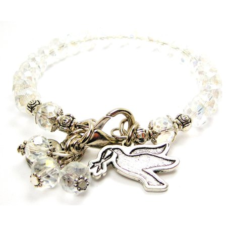 Dove With Awareness Ribbon In Mouth Splash Of Color Crystal Bracelet in White , Fits 7.5 wrist, Exclusive