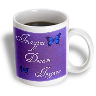 3dRose Purple Imagine, Dream, Inspire Butterflies- Inspirational Art- Affirmations, Ceramic Mug, 15-ounce