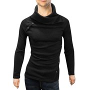 Azzuro Men's Chic Flod-Over Collar Long Sleeve Stretchy Slim Fit Sweater (Size M / 40)