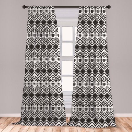 Modern Curtains 2 Panels Set, Geometric Design with Modern Hippie Zig Zags Triangles Squares Print, Window Drapes for Living Room Bedroom, Black and White, by Ambesonne