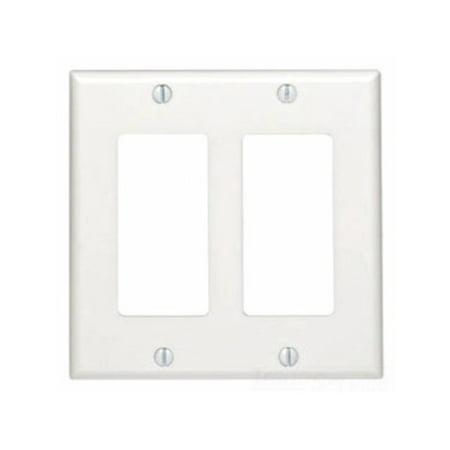 Leviton 80409-NT Wallplate 2-Gang Decora Standard Size Nylon - Light Almond (Pkg of 25) Almond Decora Wall Plate
