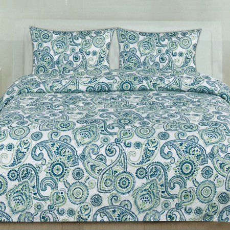 Modern Paisley Pattern Blue and Green 3-Piece Duvet Cover Set ()