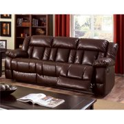 Furniture of America Eponine Leather Power Reclining Sofa in Brown