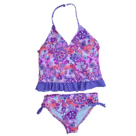 Angel Beach Girls Purple Polka Dot Swim Suit Swim Tankini Bathing Suit 2 PC