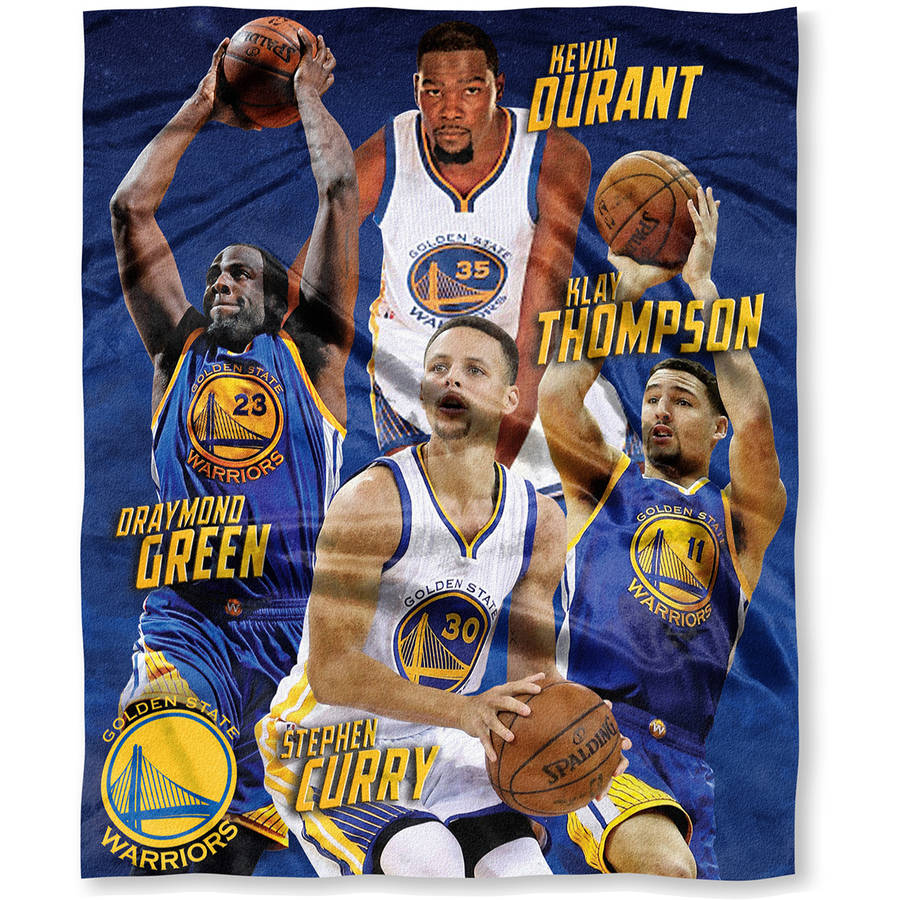 "NBA 50""x 60"" Golden State Warriors Players High Definition Silk Touch Throw, Kevin Durant, Stephen Curry, Draymond Green and Klay Thompson"