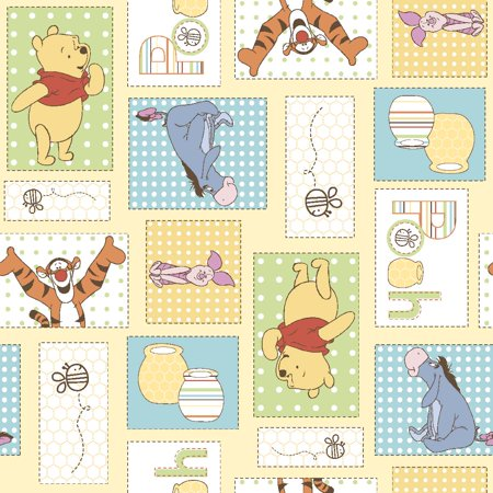 Disney Yard Art - Disney Pooh Bee Cuddly Patchwork Fabric by the Yard