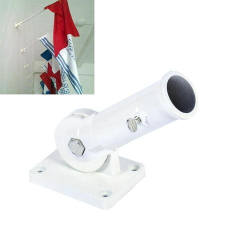 TOPINCN Wall Mounted Flag Holder, Flag Holder, Wall Mount Adjustable Holder Bracket White Metal Flag Pole Windsock Base with Screws - image 7 of 7