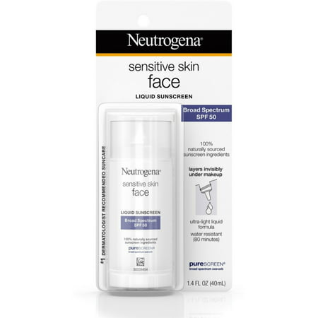 Neutrogena Sensitive Skin Face Liquid Sunscreen SPF 50, 1.4 oz