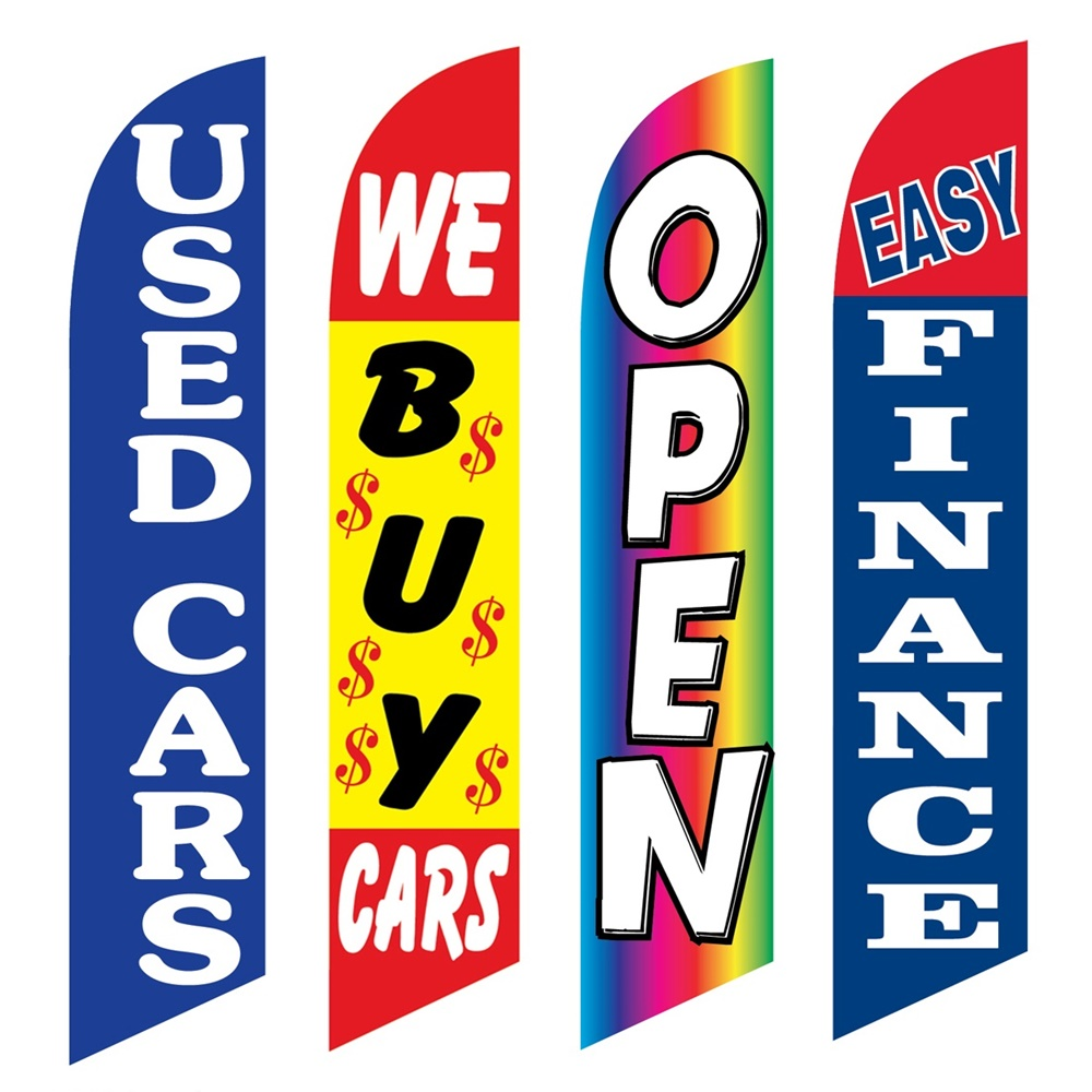 4 Advertising Swooper Flags Used Cars We Buy Cars Open Easy Finance
