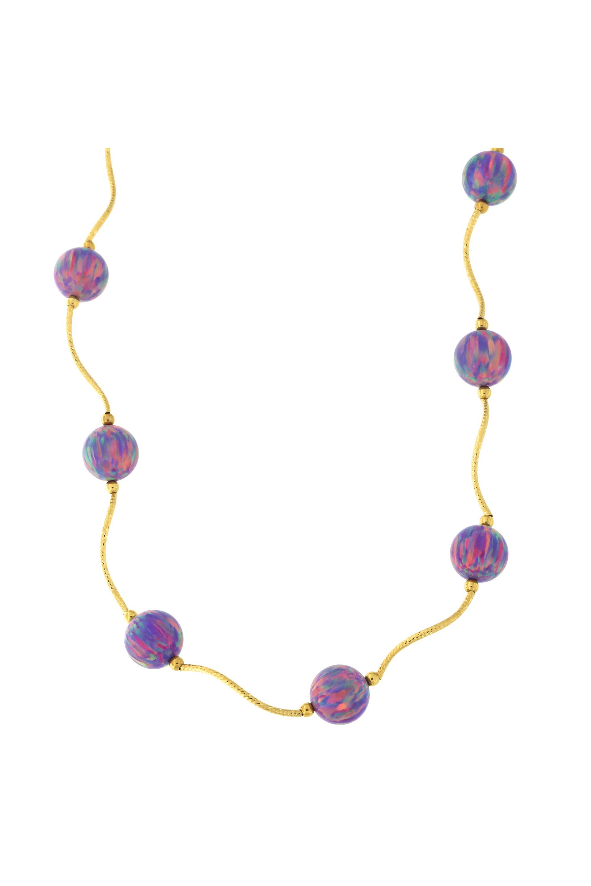 Beauniq 14k Yellow Gold Diamond Cut 8mm Simulated Purple Opal Station Necklace, 18.5 inches by