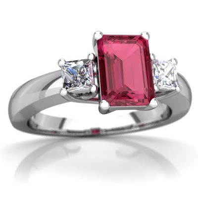 Pink Tourmaline Three Stone Trellis Ring in 14K White Gold by