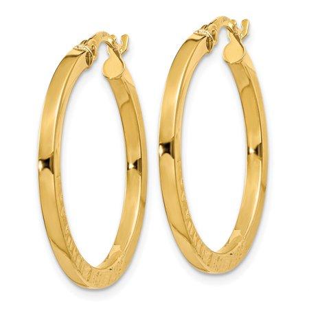 14K Yellow Gold Polished/Textured Post Hoop Earring - image 2 de 4