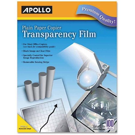 Apollo Plain Paper Transparency Film for Laser Devices, Removable Stripe, Clear, 100/Box