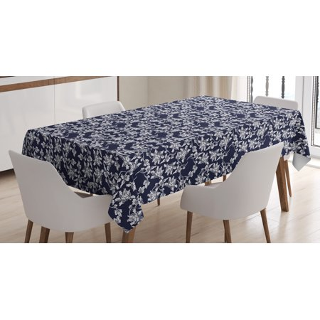 Navy Blue Tablecloth, Floral Arrangement Botanic Foliage Pattern Japanese Composition Eastern, Rectangular Table Cover for Dining Room Kitchen, 60 X 84 Inches, Dark Blue White, by Ambesonne - Navy Blue Floral Pattern
