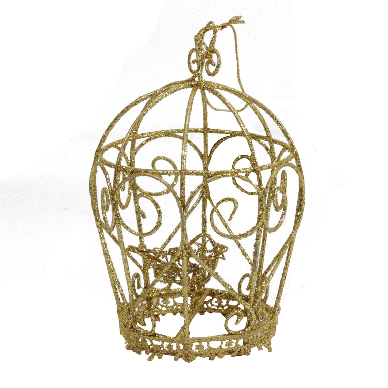 "5.5"" Glittery Gold Birdcage Christmas Ornament"