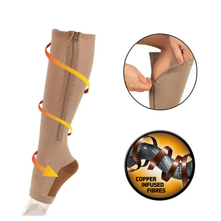 e46b46164 Copper Infused Zipper Compression Socks - Zip Up Circulation Pressure  Stockings - Zippered Knee High For
