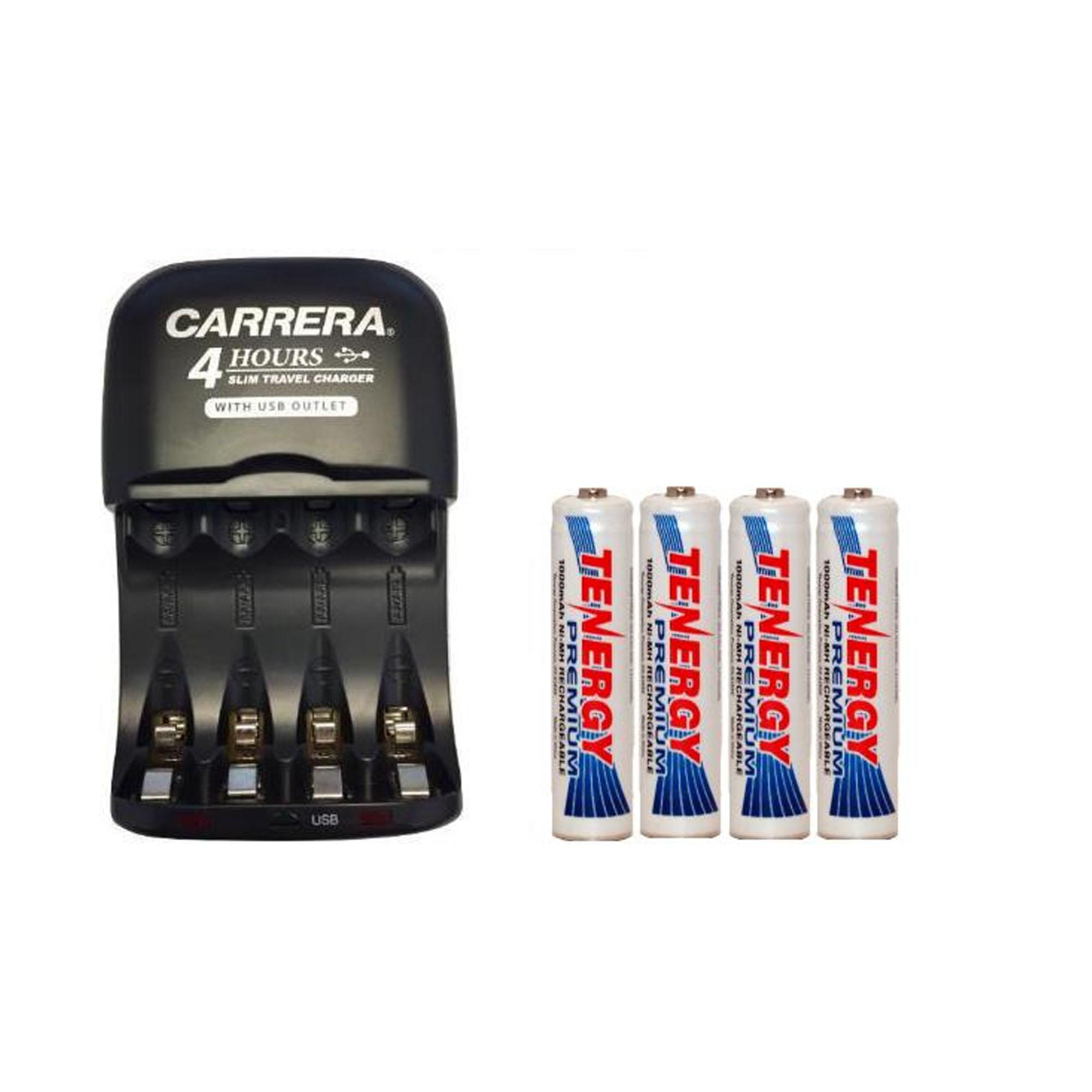 AA / AAA NiMH Smart Slim Travel Charger with USB Plug & 4 x AAA Tenergy NiMH 1000 mAh Batteries - image 1 of 1