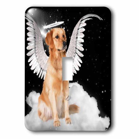 3dRose Golden Retriever Angel Dog Sitting on a Cloud with a cute Halo and Angel Wings - Single Toggle Switch (lsp_62894_1)](Halos And Wings)