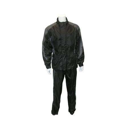 One Piece Motorcycle Rainsuit - RoadDog 2 Piece Stay-Dry Motorcycle Rain Suit Waterproof Suit Adult Silver/Black