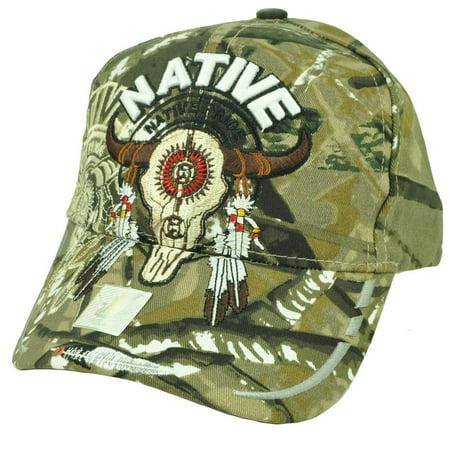 Native Indian American Pride Buffalo Skull Shadow Feather Camouflage Camo Hat (Native American Indian Buffalo)