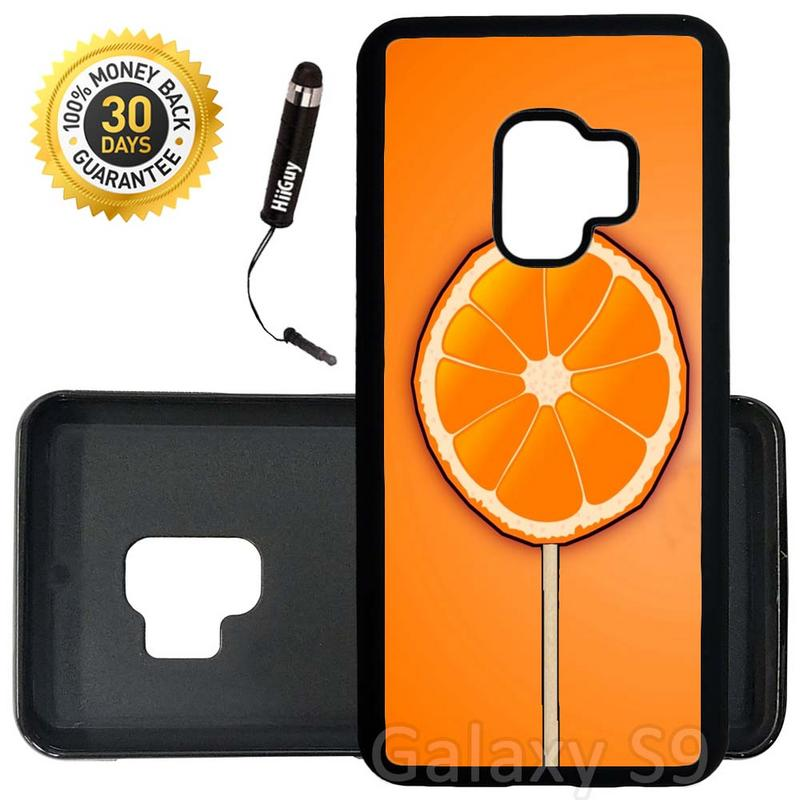 Custom Galaxy S9 Case (Sun Kiss Orange Lollipop) Edge-to-Edge Rubber Black Cover Ultra Slim | Lightweight | Includes Stylus Pen by Innosub