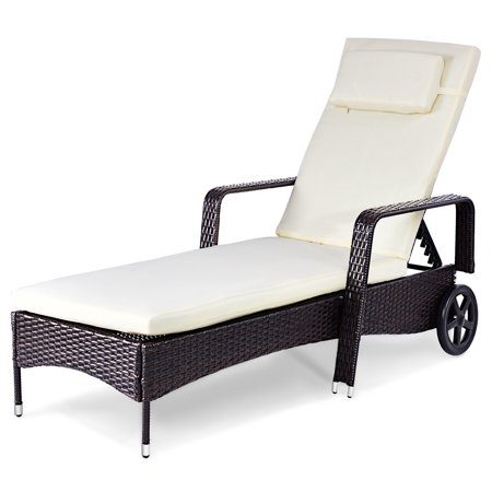 Goplus Brown Outdoor Chaise Lounge Chair Recliner with Adjustable Wheels White Cushions Nautical Wheel Chaise Lounge