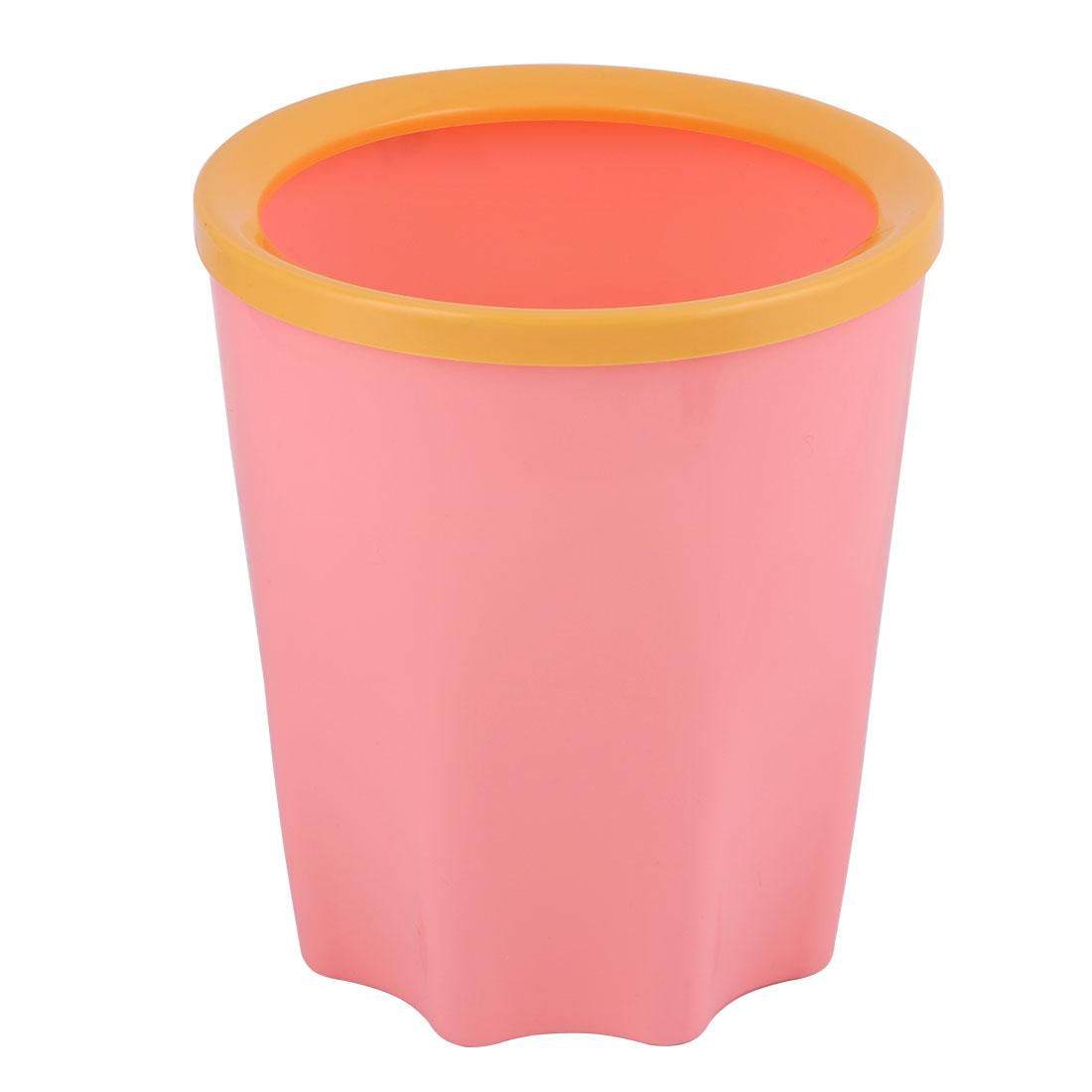 Plastic Table Desktop  Waste Rubbish Bin Garbage Trash Can Pink 17 x 15cm - image 4 of 4