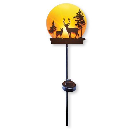 Deer in Sunset Forest Decorative Solar Stake Garden Light for Yard, Lawn, Outdoor Rustic Cabin Decor (Outdoor Yard Decor)