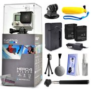 GoPro Hero 4 HERO4 Silver CHDHY-401 with Floaty Bobber + Selfie Stick + Two Extra Batteries + Travel Charger + Tripod Adapter + Cleaning Kit